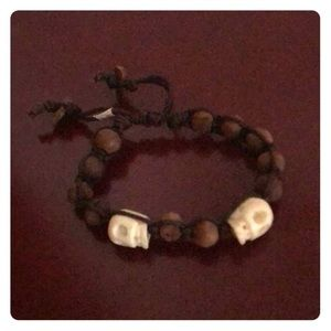 Jewelry - Wooden and Skull Bead Bracelet